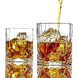 PATALACHIウイスキーグラス300ml容量鉛フリークリスタルウイスキータンブラーバーボンモルトコニャックアイリッシュウイスキー昔ながらのカクテルを飲むための厚い重み付き底 (2個セット)
