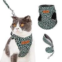 猫ハーネス 小型犬ハーネス ハーネス 猫用 猫リード 犬用リード 猫ベスト 唐草柄 安全調節可能 簡単脱着式 ソフト 快適性 (XS)