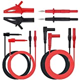 Proster Multimeter Test Leads 8-Pieces Electronic Professional Test Lead Kit Test Lead Probe Multimeter Accessory Kit Includes Lead Extensions Test Probes Mini Hooks Alligator Clips