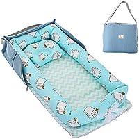 Maydolly(メイドリ)持運び易いベビーベッド 収納便利のベッドインベッド 折畳可能の添い寝 枕付き 出産祝い (ブルー・象)