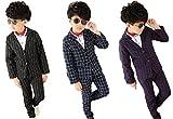 (カエナリエ) Kaenarie 子供 フォーマル スーツ 男の子 白 黒 ストライプ 柄 / 紺 チェック 柄 4種 (120, 黒 × 白 ストライプ)