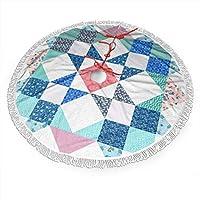 四角形 パターン3種類のサイズのプリントタッセルレースツリースカート、クリスマスパーティー用のクリスマスデコレーション、ホリデーデコレーション付きクリスマスツリースカート