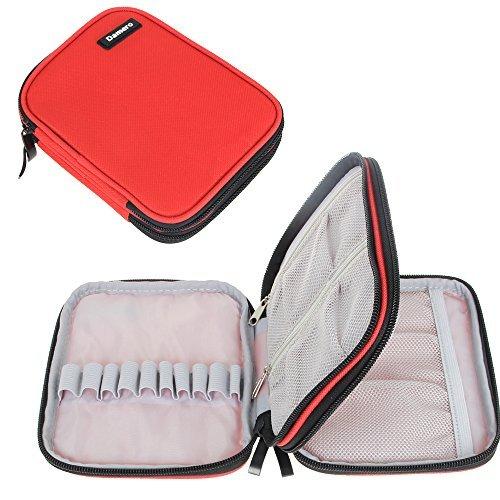 Damero お手頃かぎ針収納ケース 二層式 かぎ針セット・かぎ針編みのアクセサリー・クラフトツール・筆記用具 保管 持ち運び 可愛い プレゼント(針が含まない)赤