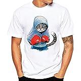 Hanaturu  tシャツ メンズ おしゃれ 爽やか色 羽カメラ自転車ネコ標識 カラフル 可愛プリント柄 着心地いい 夏最適 ファション 白 メンズプリントtシャツ 友達彼氏 プレゼント 5タイプ選べ S-4L 大きいサイズ  (XXXXL, ブルー)