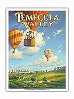 テメキュラ・バレー・ワイナリー - リバーサイド郡 - サウスコーストAVAブドウ園 - カリフォルニアワインカントリーアート によって作成された カーン・エリクソン - アートポスター - 23cm x 31cm