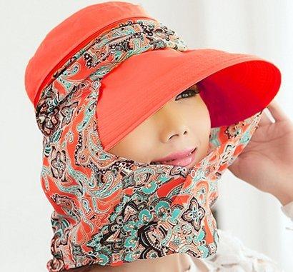 3way 帽子 フェイス カバー 付 レディース 紫外線 UV 日よけ 対策 女性 エレガント サンバイザー 通気性 抜群 (オレンジ)