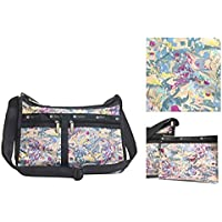 LeSportsac Galaxy Swirl Deluxe Everyday Crossbody Bag + Cosmetic Bag, Style 7507/Color E133, (Pearlized/Iridescent)