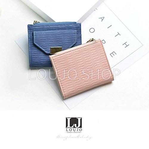 256952617ad8 【LOUJO】 選べる5色 レディース財布 二つ折り ミニ財布 マッドな色合い ファスナー小銭入れ 手の平サイズ 女子 OL ビジネス 主婦 学生  (ピンク)