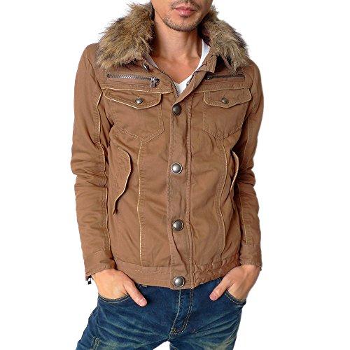 (ハイクオリティプロダクト) High quality product メンズ 衿ファー付きミリタリージャケット / 裏ボアジャケット ショート丈 ジャケット コート アウター メンズファッション ベージュ Lサイズ