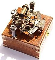 ソリッド真鍮六分儀–Nautical decor-astrolabe/木製ストレージケース