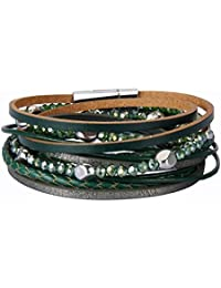 COOLLA Women's Leather Bracelet - Handmade Jewelry Multilayer Wrap Bracelets with Bead & Magnet Clasp