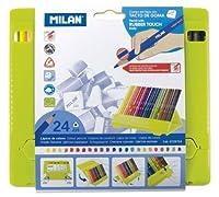 MILAN プラスチックケース入 ラバータッチ 三角色鉛筆 24色