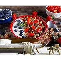 Weaeo ミューズリーブルーベリーストロベリー朝食リビングルームのための食べ物の壁紙キッチンレストランファーストフードショップカフェ-450X300CM