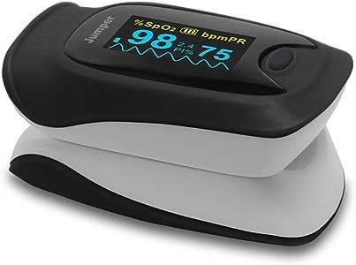 パルスオキシメーター 血中酸素濃度測定器 JPD-500D [ポーチ付き] (ブラック) [並行輸入品]