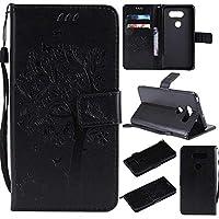 OMATENTI LG V30 ケース 手帳型ケース ウォレット型 カード収納 ストラップ付き 高級感PUレザー 押し花木柄 落下防止 財布型 カバー LG V30 用 Case Cover, 黒