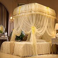 4 つのコーナーの蚊帳ベッドキャノピー,ベッド用の釣り竿伸縮蚊帳 U 3 ドア開閉式防蚊ネット 大胆なステンレス 暗号化されたメッシュ蚊帳の保持は、昆虫を追い払う・ ハエをスタンドします。-C King