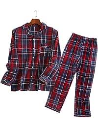 【紳士】メンズパジャマ チェック柄 無地 星柄 春夏用 長袖 前開き 100% コットン 上下セット