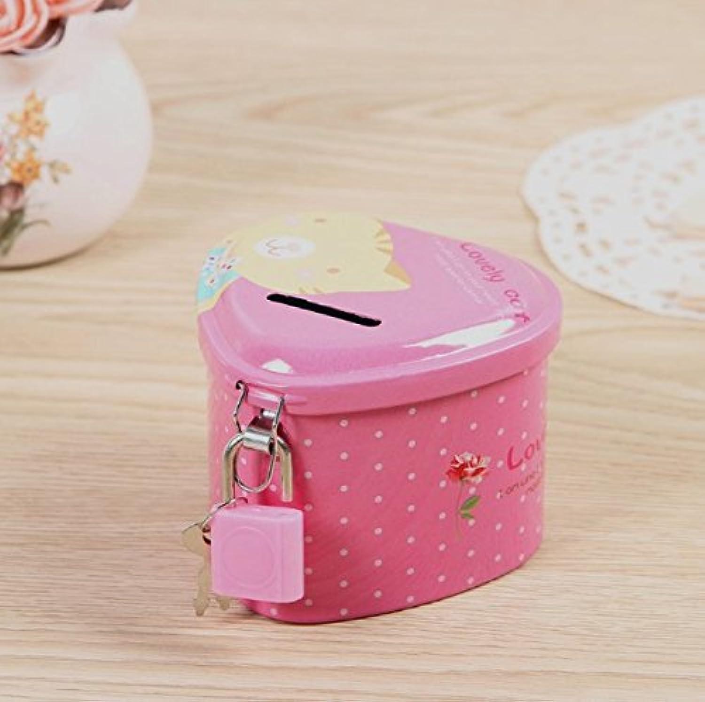 マネー バンク 繊細なハート型の貯金箱プレミアムティンプレート収納ボックス(ピンク)