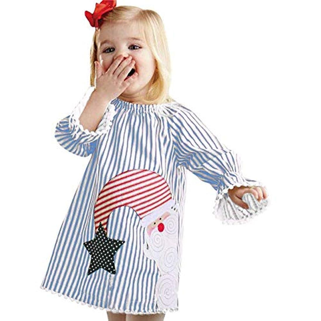 肌寒い石油あごBHKK 赤ちゃん幼児の女の子ロングスリーブサンタストライププリンセスドレスクリスマスコスチューム 12 ヶ月-4 歳 24ヶ月