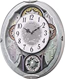 リズム時計 電波 からくり 掛け時計 アナログ スモールワールドビスト 30曲 メロディ クリスタル 飾り付き 青 (メタリック) Small World 4MN537RH04