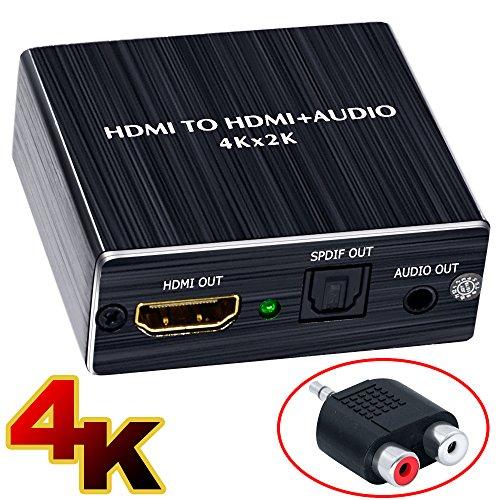 ELEVIEW 4Kx2K 3D hdmi 分離 音声「HDMI入力→HDMI+Toslink/SPDIF+3.5mm音声出力」HDMIデジタルオーディオ分離器 光デジタル/アナログステレオ出力 HDMI 音声分離器 HDMIサウンド分離器 hdmi 分配器 hdmi 音声 分離 4k PS3/PS4/XBOX/Blu-ray/DVD/HD Player/Apple TV対応(日本語取説PDF) -