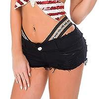 ILLUSORY 女性の擦り切れた生の裾デニムジーンズショートパンツミニショーツブラックホワイトデニムショートパンツ (色 : 黒, サイズ : L)