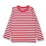 H STYLE 子供服 キッズ 男の子 女の子 ボーダー長袖Tシャツ (110, 01白 X 赤)