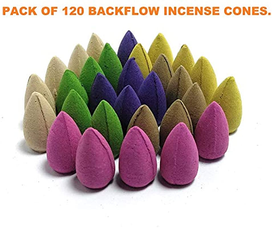 病量あいまいなNYRWANA Backflow Incense Cones, Rose/Jasmine/Lavender Fragrances,(Multicolour) - Pack of 120