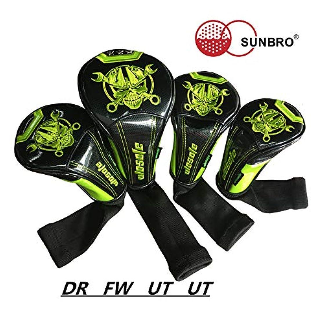 醜い有効化寸法Sunbro Golf 作りしっかり 輝くリベット 高級刺繍 Headcovers ドライバー/ウッド/ユーティリティ ゴルフヘッドカバー ロボットスカル 防水仕様 緑