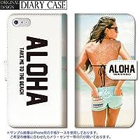 301-sanmaruichi- iPhone8Plus 手帳型ケース iPhone8Plus ケース 手帳型 おしゃれ セクシーガール アロハ ハワイ ロゴ メンズ B 手帳ケース