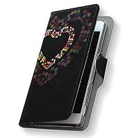Xperia X Performance エクスペリア X パフォーマンス SOV33 ケース 手帳型 スマコレ レザー 手帳タイプ 革 フリップ ダイアリー 二つ折り 横開き 革 スマホケース スマホカバー ラブリー 006655 Sony ソニー au エーユー ハート カラフル sov33-006655-nb