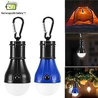 Hommie 2パックLEDキャンプライト、充電式電池式テント電球防水テントランタン電球、1黒と1青