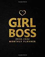 Girl Boss 2020-2022 Monthly Planner: Black Velvet 3 Year Monthly Organizer, Schedule Agenda & Business Notebook - Leaf Gold Three Year Calendar with 36 Months Spread View, Inspirational Quotes & Notes