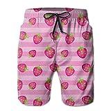ピンクの苺 メンズ サーフパンツ 水陸両用 水着 海パン ビーチパンツ 短パン ショーツ ショートパンツ 大きいサイズ ハワイ風 アロハ 大人気 おしゃれ 通気 速乾