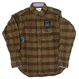 (アビレックス)AVIREX 長袖 ネルシャツ ミリタリー コットン エンブレム ワッペン 刺繍 6185086 L 55ブラウン