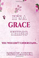 GRACE: Personalised Name Planner 2020 Gift For Women & Girls 100 Pages (Pink Floral Design) 2020 Weekly Planner Monthly Planner