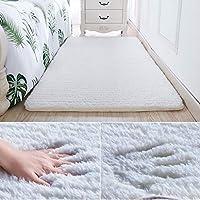 カーペット エリア敷物長方形スーパーソフトふわふわウール敷物敷物敷物フロアマットカーペット装飾 (色 : 白, サイズ さいず : 120*160cm)