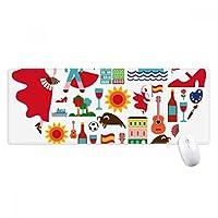 スペインの闘牛のフラミンゴハートの旗 ノンスリップゴムパッドのゲームマウスパッドプレゼント