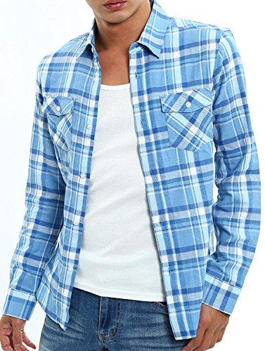 インプローブス スリム チェックシャツ 長袖 チェック柄 スリムシャツ メンズ F サイズ S