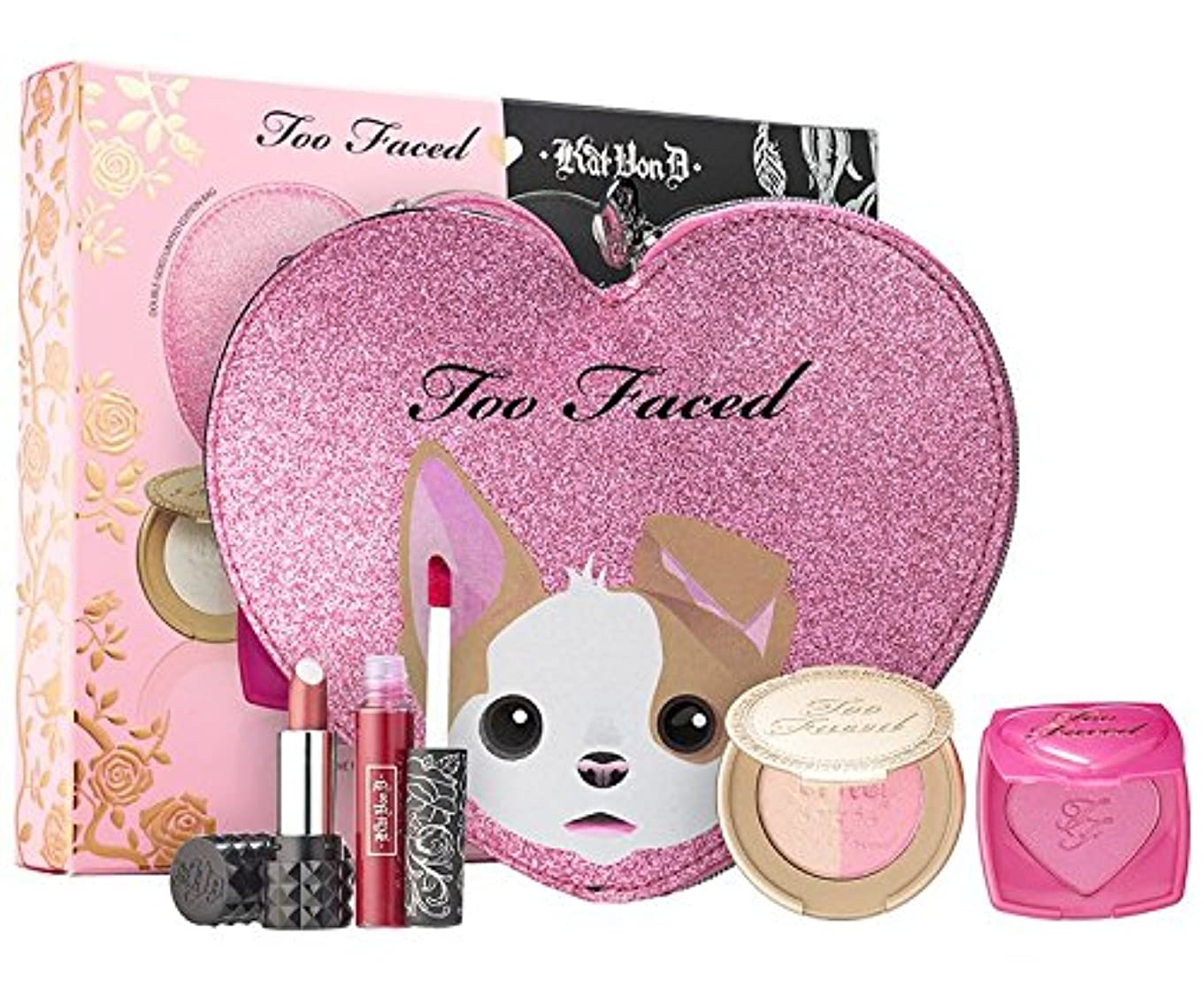 スクラブキャンディー現実的Too Faced x Kat Von D ~ Better Together Cheek & Lip Makeup Bag Set ~ Limited Edition