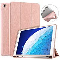 Dadanism NEW iPad Air 3 (第三世代) 2019 専用 タブレット 保護ケース カバー 三つ折りスタンド 軽量 薄型 スタンドケース オートスリープ機能付き iPencil収納 モデル対応:iPad Air 3 A2152 / A2123 / A2153 / A2154 ROSE GOLD
