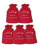 【小20.5×25cm】クリスマス かんたんギフト袋 赤 不織布 (小 5枚)