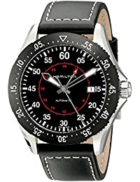 Hamilton ハミルトン メンズ 時計 腕時計 Men's H76755735 Khaki Aviation Stainless Steel Automatic Watch with Black Leather Band