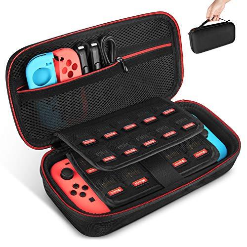 KetenTech Nintendo Switch ケース 任天堂Switch セミ ハード ケース 改良型 消臭処理 防汚 耐衝撃 ニンテンドースイッチ保護カバー 収納バッグ ハンドストラップ付 ゲームカードケース