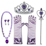 GCFIYPP プリンセス ドレスアップアクセサリー 5点セット Sofia the First Party Supplies 王冠 羊飼い ネックレス イヤリング グローブ (王冠 羊飼い ネックレス イヤリング 手袋)