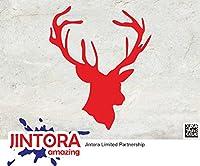 JINTORA ステッカー/カーステッカー - HEAD DEER - Buck hunting - HEAD DEER - バックハンティング - 114mm x139mm - JDM/Die cut - 車/ウィンドウ/ラップトップ/ウィンドウ- 赤