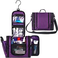 WANDF Expandable Toiletry Bag Dopp Kit TSA Approved Bottles Water Resistant Nylon, Black (Purple 2019)