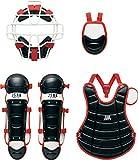 ZETT(ゼット) 少年野球 軟式 キャッチャー 防具4点セット BL716 ブラック/レッド