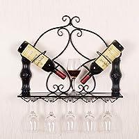 壁に取り付けられました。 金属 ワインラック, 欧州 ホルダー ワイン 5 ワイン グラス 2 ボトル サーバー ディスプレイ ラック ワインホルダー-ブラック L57xW13xH48cm
