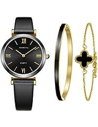 MAMONAレディースクォーツ時計&ブレスレットギフトセット女性L3880BKGT用防水本物の革バンドの腕時計